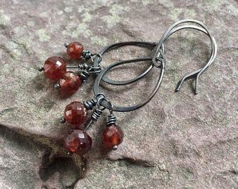 Hessonite garnet earrings, copper and garnet, orange garnet, rustic jewelry, oxidized copper, gemstone dangles, orange, faceted stones