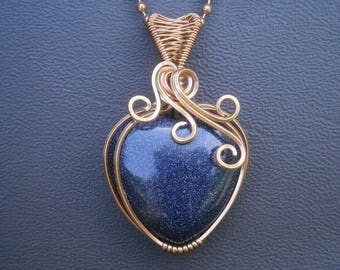 heart pendant copper jewelry handmade wire wrapped pendant galaxy pendant blue goldstone necklace