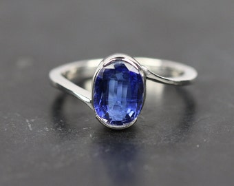 Blue kynite ring,white gold plated bypas ring,925 sterling ring