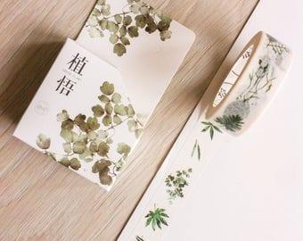 Cute washi tape - green plants - poem tape | Cute Stationery