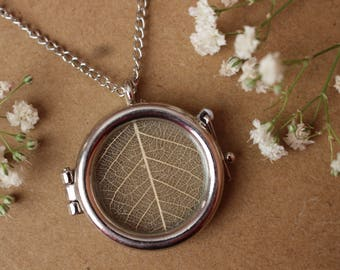 White Leaf Locket Necklace, Locket Pendant