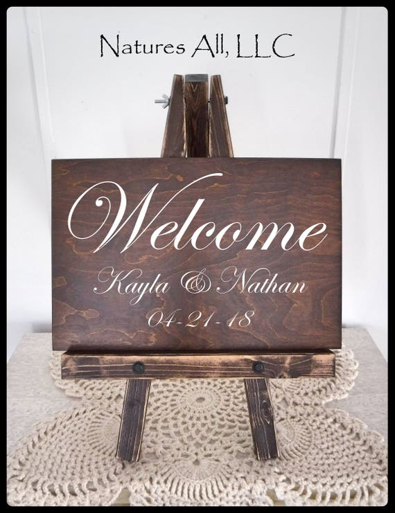 Wedding Sign-Welcome/ Welcome Sign AND Table Top Easel-Large/ Custom Wedding Signs/ Welcome Wedding Signs/Wood Wedding Signs/Reception Sign