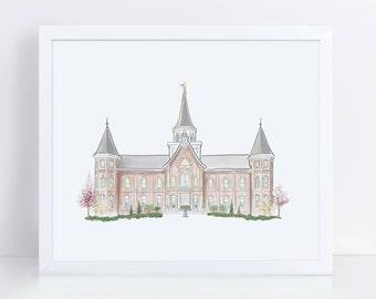 Provo City Center Temple Illustration | FINE ART | LDS Temple Print | Mormon Wedding | Printable | Instant Download | 5x7, 8x10, 11x14
