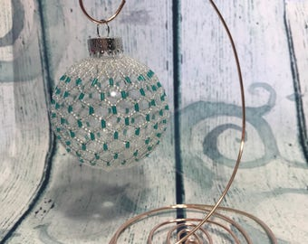 Green Beaded Christmas decoration; silver and green christmas bauble; christmas tree ornament; victorian decoration; baby first christmas