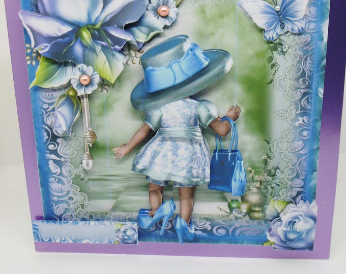 Little Girl Dressing Up, Handmade 3D Decoupage, Birthday Card, Greeting Card, Butterfly, Hat Handbag and Shoes, Female, Any Age,