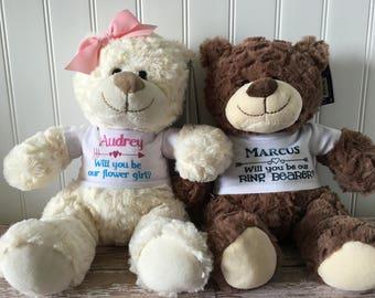Will you be my flower girl teddy bear stuffed animal // will you be my ring bearer teddy bear plush  // wedding gift stuffed animal plush //