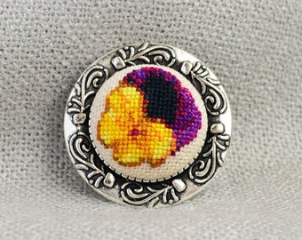 Viola flower brooch Gift for her Cross stitch jewelry Embroidered brooch Yellow black flower Hand embroidered gift Viola jewelry Women gift
