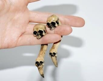 HALLOWEEN Skull GOTHIC jewelry SKULL jewelry Ear gauge Skull earring Fake gauges Dreads Human skull Skull gauges Ear skull plugs Ear Gauges