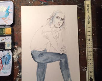 Woman with jeans, a unique illustration and perfect gift for any occasion
