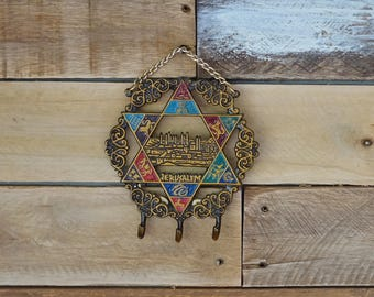 Vintage metal key holder - Star of Jerusalem - Key hooks - Jerusalem souvenir