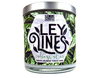 Ley Lines - Book Candle - 10oz Wood Wick Soy Candle - LemonCakes Candle Co - Rain, Green Growing Things