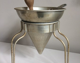 Vintage Wear-Ever No 462 Aluminum Cone Food Strainer Colander  With Stand And Wood Pestle Food Mill Ricer Press Masher Wear Ever Mid Century