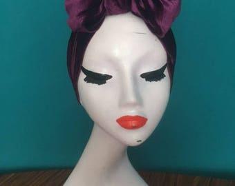 Purple velvet turban bow / headwrap