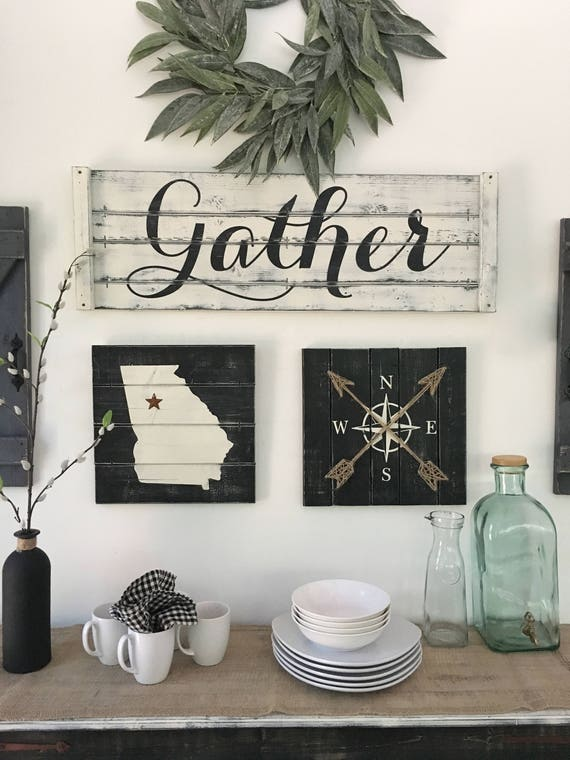 GATHER SIGN Rustic Gather Sign Wood Large