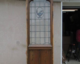 XL Antique Victorian Gothic Tiger Oak Church Lead Glass Window Door Partition B