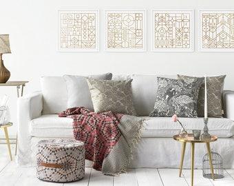 Midas Touch Metallic Copper Art Print Series | 12x12 | Stained Glass, Frank Lloyd Wright, Geometric, Art Deco, Shapes, Geometric, Gold