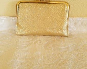 Vintage Kenton Wallet, Vintage 1950s Two Fold Clutch Wallet, Vintage Gold Lame Clutch Wallet, Vintage Gold Wallet, Gold Lame Clutch Wallet
