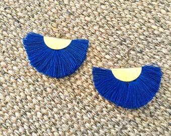 Fan earrings - navy blue & brass