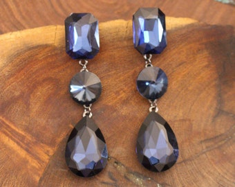 navy blue long earrings, navy blue rhinestone earrings, navy crystal pageant earrings, dark blue prom earrings, navy blue clip on earrings
