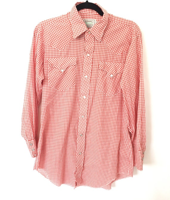70s Gingham HbarC Western Button-down - Pearlescent  snap buttons