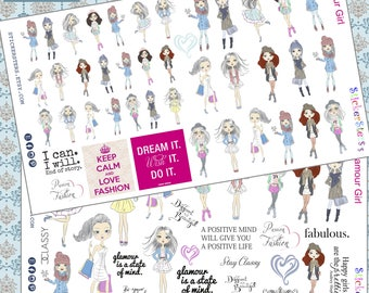 Glamour Girl Fashion Planner Stickers
