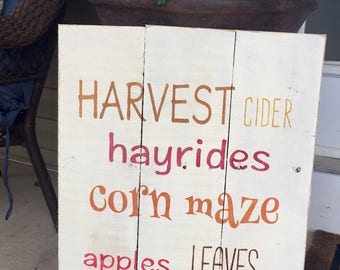 Rustic Reclaimed Wood Sign - Fall Harvest, cider, hayrides sign. 16x18