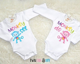 Twin Baby Bodysuit Set. Twin Baby Shower Gift. Matching Twin Outfits. Twin  Baby