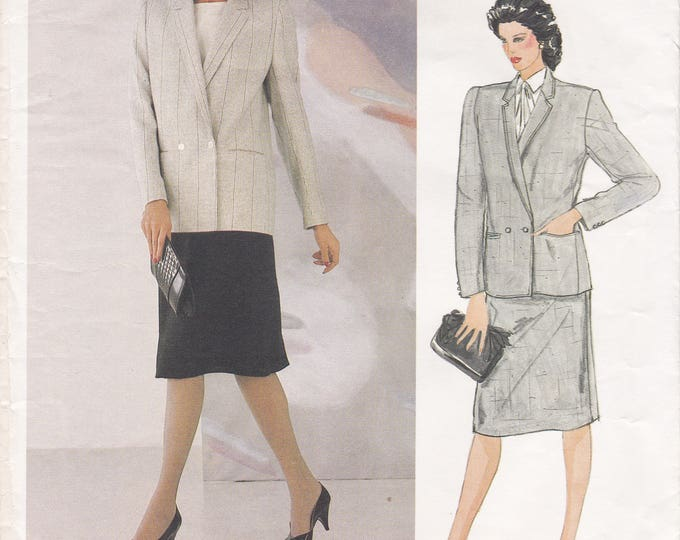 FREE US SHIP Vogue 1104 Designer Joseph Picone Sewing Pattern Uncut Size 14 Bust 36 Suit Jacket Skirt  Double Breasted