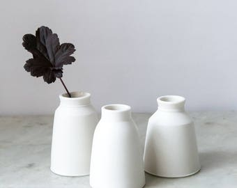 unique ceramic milk churn bud vase in wheel-thrown, diamond-polished porcelain with a white glazed interior