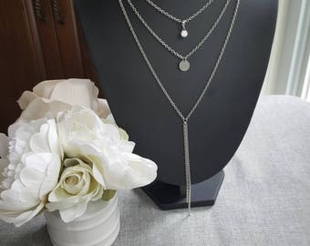 3-row stainless steel necklace, rhinestone