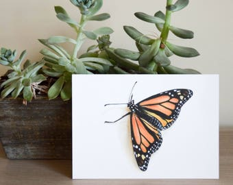"Monarch Butterfly Gouache Painting Postcard 5""x7"""