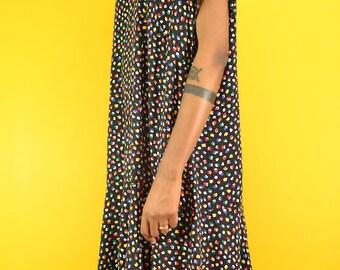 VIntage Black + Multicolor Dot Print Midi Dress