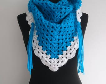 READY TO SHIP: Kingfisher Blue Hand Crochet Triangle Scarf/Shawl.