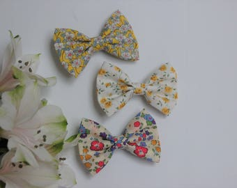 Hair bow clip in fashionable floral yellow Liberty of London fabric