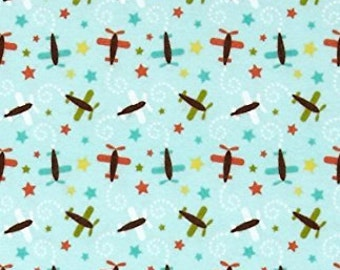 Riley Blake Oh Boy Pattern C3303; Color Blue Airplanes; 1/2 yard woven cotton fabric