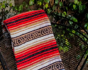 Red and White Striped Mexican Blanket