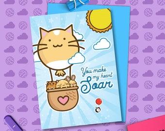 You Make My Heart Soar Valentine's Card Cats Balloon heart husband love Girlfriend Anniversary boyfriend wife Kawaii Love Fuzzballs Greeting