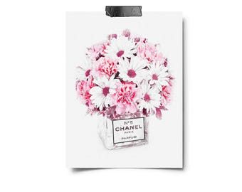 Chanel art printed Large Chanel wall art coco Chanel poster coco Chanel print coco Chanel wall art chanel Chanel No.5, Floral watercolor art