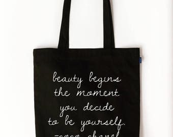Beauty Begins the Moment you Decide to be Yourself Coco Chanel Quote Tote Bag/Purse