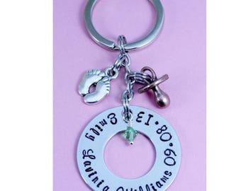 New Baby Gift | Birth Keepsake | Personalised Washer | Key Ring | New Mum/Mummy/Parent Keepsake | Sentimental Keyring