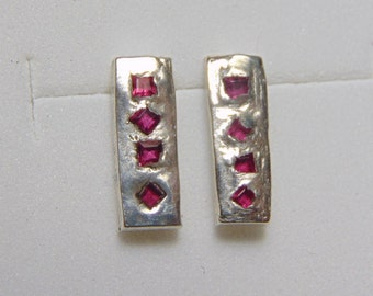 Organic ruby bar earrings. solid fine silver. one of a kind single run princess cut square ruby rough boho sand casted earrings