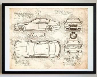 Bmw blueprint etsy bmw m5 2011 da vinci sketch bmw artwork blueprint specs blueprint malvernweather Choice Image