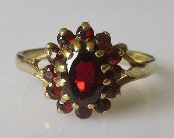 9ct Gold Garnet Oval Flower Ring
