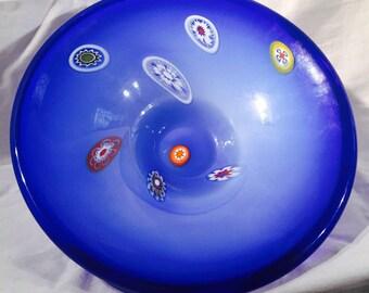 Cobalt Blue Murano Venetian Venice Italy Artisan Hand Blown Glass Bowl Centerpiece Dish