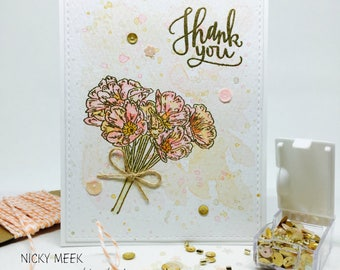 Handmade Watercolor Thank You Card - Gold Embossed - Watercolour Painted