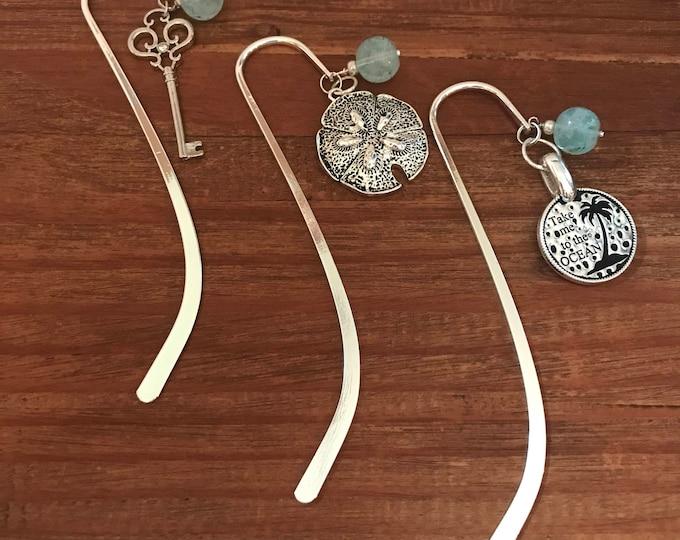 Book Lover Bookmark Beach Bookmark Book Accessories Coworker Gift Beach Lover Key Beaded Bookmark Reading Accessories Travel Gift Teacher