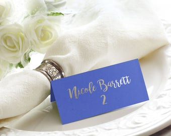 Navy and Silver Foil Script Flat or Tented Handmade Wedding Place / Escort / Name Cards, Also Available in Rose Gold and Silver