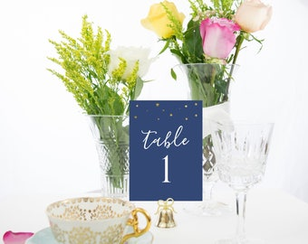 Starry Night Gold Foil Table Numbers, Also Available with Rose Gold, Copper, or Silver Foiled Stars Style #0107