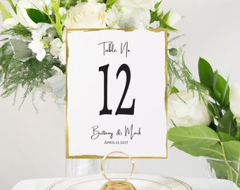 Personalized Gold Table Numbers Handmade Wedding Style, Gold Foil, Wedding Decor #0144