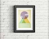 Geometric Minimal Scandinavian Style Giclee Art Print Gift Poster, Mountain Scene